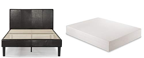 Zinus Gerard Platform, Queen, Espresso & Green Tea 12-inch Memory Foam Mattress, Queen