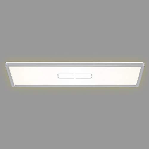 Briloner Leuchten - LED Deckenleuchte, Deckenlampe mit Hintergrundbeleuchtungseffekt, 22 Watt, 2.700 Lumen, 4.000 Kelvin, Weiß-Silber, 580x200x29mm (LxBxH)