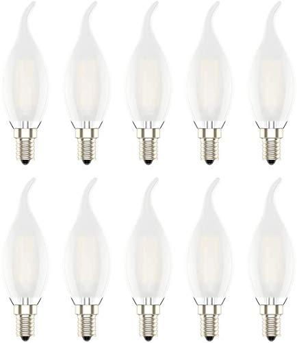 4W Ampoule LED E14 à Filament Dimmable, Ampoules Flamme,Equivalence Incandescence 30W, 2700K Blanc Chaud et 300LM, Angle de Faisceau 360°,Verre Mat,Lot de 10