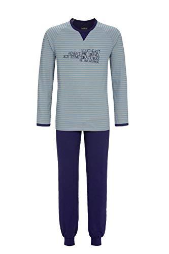 Ringella Herren Pyjama mit Motivdruck Asia Blue 54 0541206, Asia Blue, 54