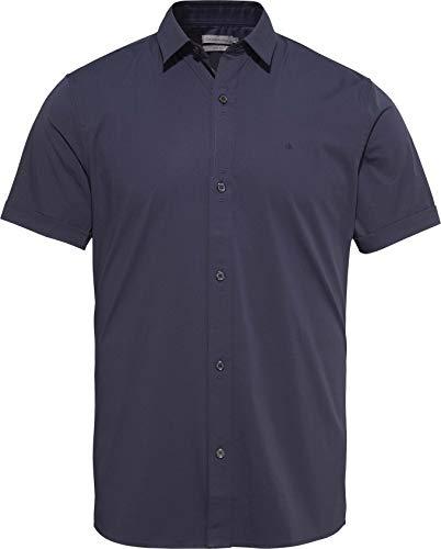 Calvin Klein Wings Slim Fit St S/S Shirt Camicia, Cielo Notturno, Medium Uomo