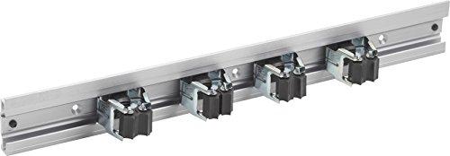 Meister Gerätehalterleiste 500 mm - Geräteleiste & 4 Gerätehalter - Aluminium - Leichte Montage / Werkzeughalter / Gerätehalter für Gartengeräte / Stabile Werkzeugleiste für die Wand-Montage / 9953160