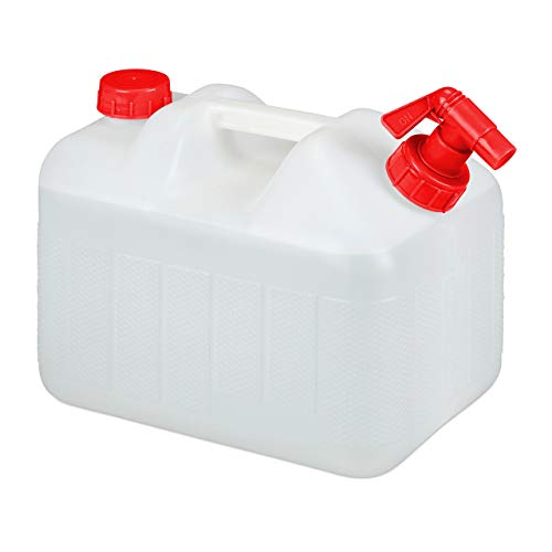 Relaxdays Wasserkanister mit Hahn, Schraubdeckel, Trinkwasserkanister Camping, 10l Tank, BPA-frei, Kunststoff, weiß-rot