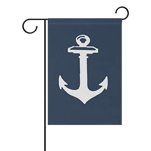 LINDATOP Gartenflagge mit Anker-Muster, 30,5 x 45,7 cm, doppelseitig, Hofdekoration, Polyester, Outddor Flagge, Home Party, Polyester, Multi, 12x18(in)