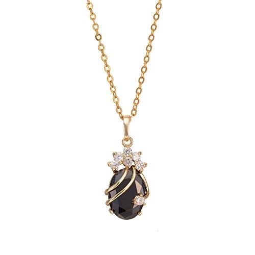 Yazilind - Bonito colgante de cristal con collar para mujer, chapado en oro de 18 quilates