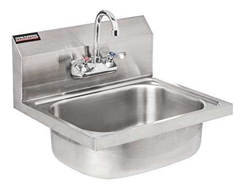 DuraSteel Stainless Steel Hand Sink with 17'W x 20'L x 15'H Sink Dimension | Commercial Wall Mount Sink | Strainer and Faucet Included | Perfect for Stores, Restaurants, Bars, and More