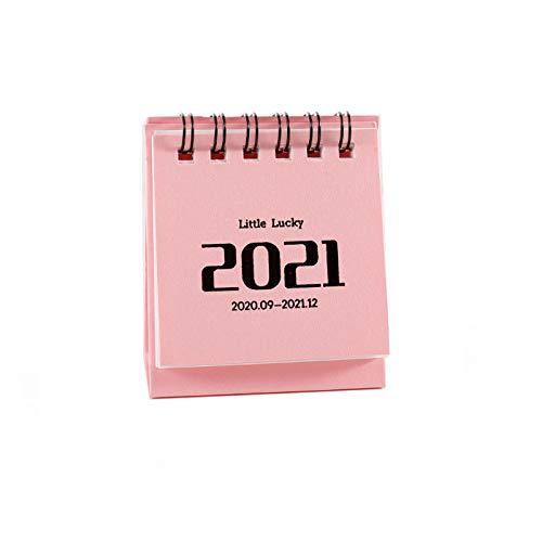 Gpure Little Lucky-Calendarios Pequeña de Mesa Agenda 2021 Mes por Pagina Impermeable de Papel Grueso 3.1x6.3x7.1cm Personalizado 360° Giratorio Personales Agenda para Hogar Escuela Oficina (Rosa)