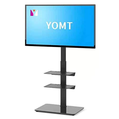 YOMT TV Stand with Adjustable Shelf for Most 27 to 55 inch Plasma LCD LED Flat or Curved Screen TVsSwivelampHeight Adjustable TV Stand for Home and OfficeBlack