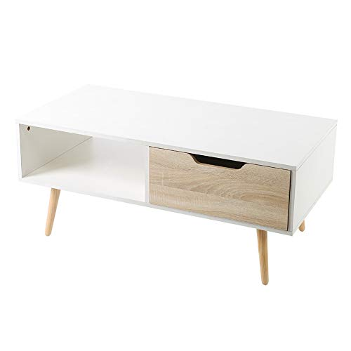 Cikonielf Modern White Coffee Table with Drawer Living Room Large Modern Sofa End Tea Table with Open Compartment for Office Waiting Reception Furniture, Max Load 30kg 100 x 50 x 44 cm