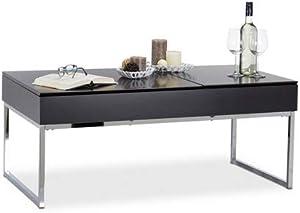 Relaxdays Couchtisch Lift mit 2 Fächer, Tablett Klappsitz, Stauraum Wohnzimmertisch, HxBxT: 45,5 x 110 x 60 cm, schwarz