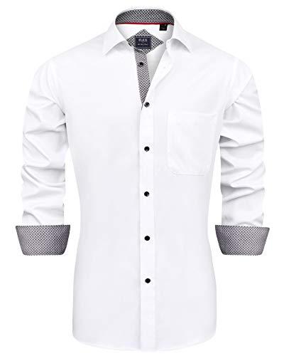 J.Ver Herren Hemd Regular Fit Langarm Herrenhemden Freizeithemd Regular Businesshemd elastiscer Musterhemd, B-weiß, XXL