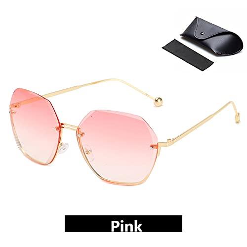 LIANZI - Gafas de sol para adultos para mujer, estilo casual, chic, polarizadas retro, semi sin montura con protección UV, Pink,