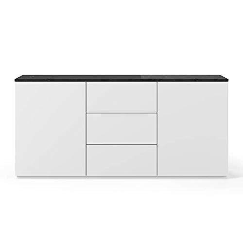 Buffets Design et élégants, Collection Join, signée TEMAHOME. - Join 180H1, Base Classique, Blanc Mat, Plateau en marbre Noir