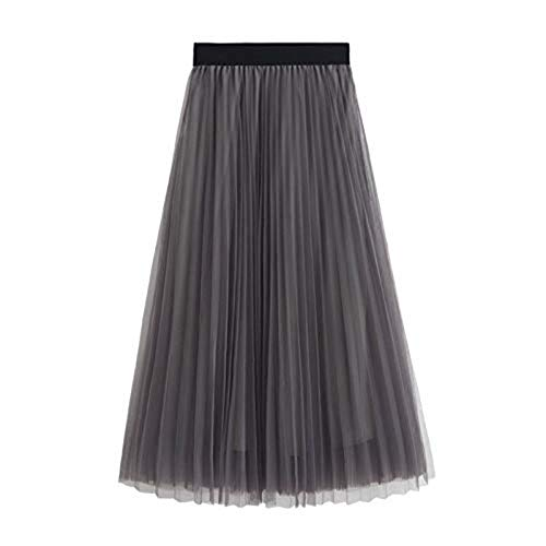 WAFA Women's Long Tulle Skirt Tutu Swing Skirts Pleated Maxi Chiffon Petticoat High Elastic Waist Midi Skirt Flowing Big Hem-Grey
