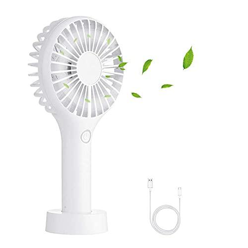 Mantimes Ventilador portátil de mano, mini ventilador eléctrico de escritorio con batería recargable para viajar, al aire libre, hogar, oficina (blanco)