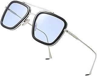 Retro Square Aviator Sunglasses for Men Women Classic Tony Stark Sunglasses Square Pilot Shades