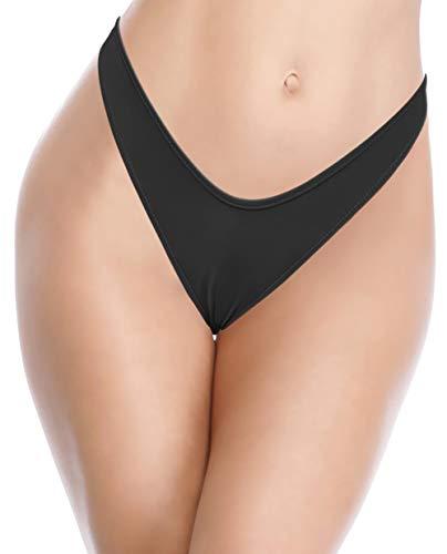 SHEKINI Damen High Cut Bikini Hose Thong Schlangemuster V Schnitt Strand Unterteil Grosse Grössen Schwarz Tanga Hosen(Schwarz C,M)