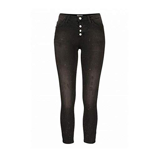 rich&royal Damen Jeans Midi Skinny Fit Denim Black Schrittlänge L32, Größe W28