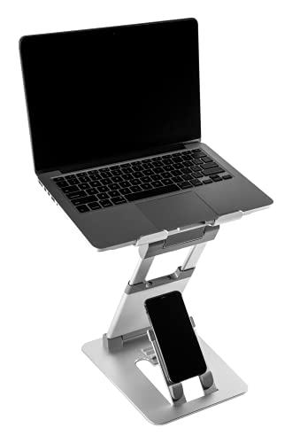 obVus Solutions - minder Laptop Tower II Stand with Integrated Smartphone Stand, Portable Laptop and Phone Stand, Foldable Laptop Stand, Ergonomic Stand for Laptop and Phone, 17 Inch Laptop Stand