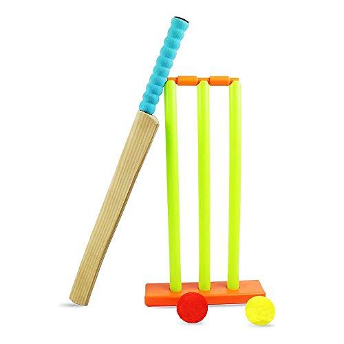 Cricket-Set für Kinder – DingZhao NBR-Schaumstoff-Holz-Cricket-Set beinhaltet Schläger, Bälle, Stäbe in Netztasche für Kinder, Garten, Crazy Outdoor-Spielzeug, Schneller Strand Park