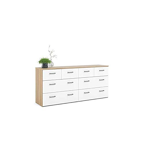Levan Home Modern Oak and White 8 Drawer Double Bedroom Dresser