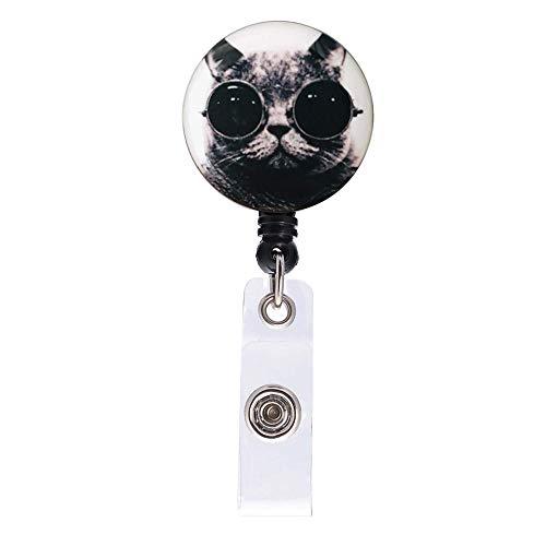 Cute Cat Retractable ID Card Badge Holder with Alligator Clip, Name Nurse Decorative Badge Reel Clip on Card Holders, Retractable Long 24 inch Cord