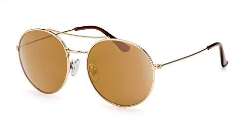 Filtral Runde Sonnenbrille/Retro-Brille mit gold verspiegelten Gläsern & Doppelsteg F3021189