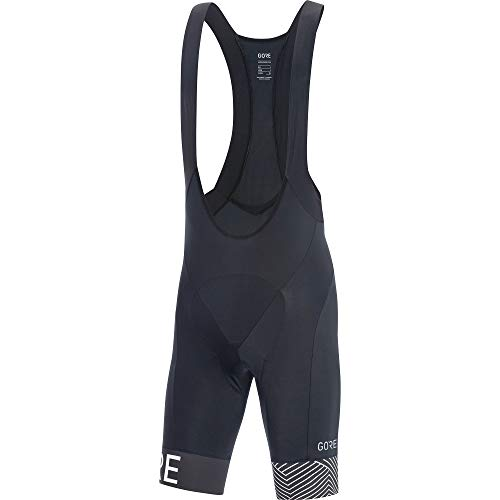 GORE Wear C5 Men's Short Cycling Bib Shorts With Seat Insert, XL, Black/White