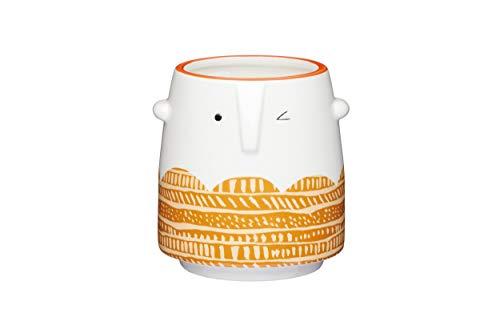 KitchenCraft Blumentopf für den Innenbereich, klein, dekorativ, Keramik, Weiß / Orange, 11.5 x 12 cm