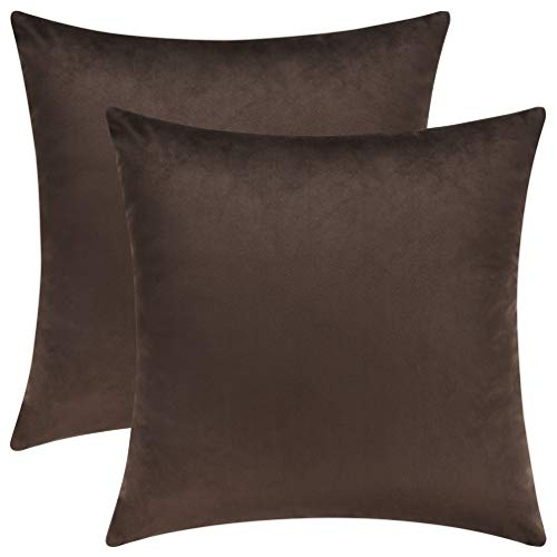 Mixhug Cozy Velvet Square Decorative Throw Pillow Covers for Couch