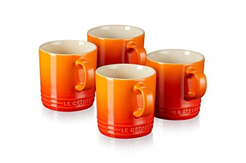 Le Creuset Tazas de cerámica de gres, Set de 4, 350 ml cada una, Naranja Volcánico