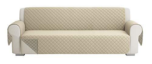 Fundas para Sofa Acolchado, Funda De Sofas 4 Plazas (220 CM), Cubre Sofa Reversible Bicolor, Taupe / Beige