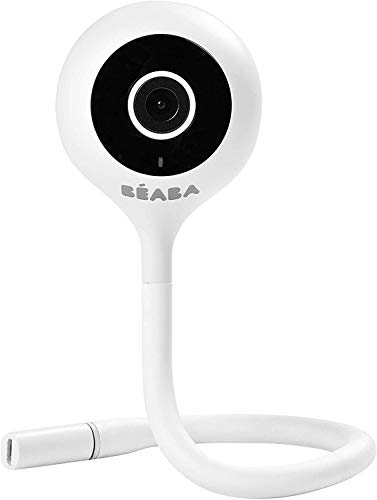 BÉABA Zen Connect - Monitor de Bebé, Vigilabebés Vídeo, Cámara Full HD 1090p, Walkie-Talkie, Gran Alcance, Conexión Móvil y Wifi, Nanas, Varilla flexible - Blanco