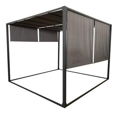 Jet-Line Pavillon Safaga 3 x 3 m, Überdachung anthrazit Pergola Sonnenschutz UV Sichtschutz Garten Terrasse