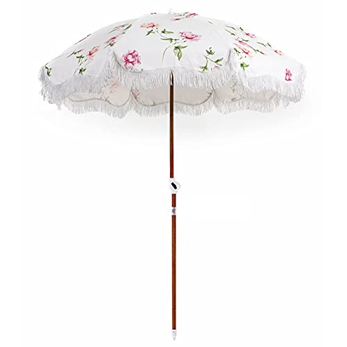 YIZHIYA Sombrilla de Jardín, Parasol al Aire Libre inclinable Plegable con Borla con patrón de Rosas, Paraguas Decorativos a Prueba de Lluvia a Prueba de Viento del Patio del Paraguas de Sol