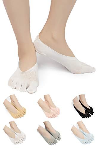 SendYouShine Mujer Respirable Calcetines del dedo del pie Compresión Calcetines Forro de Corte Ultra Bajo Antideslizante con lengüeta de gel Calcetines para correr yoga Ortopédicos Calcetines