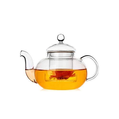 VKPLITE 400ml Glass Teapot with Removable Infuser, Stovetop Safe Tea Kettle