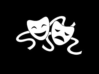 Comedy Tragedy Drama Theater Masks Decal Vinyl Sticker|Cars Trucks Vans Walls Laptop|WHITE|5.5 in|CCI368