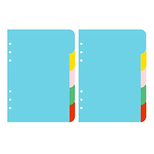 Iwinna 2 Sets 5 Colours Tab Dividers A5 Index Classified Lables 6-Holes Colourful Filler Project Sorter Pages for Ring Binders Planner Notebook (A5)