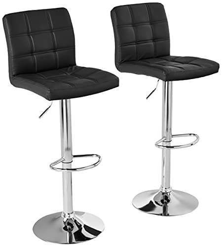 Modern Square PU Leather Adjustable Bar Stools with Back,Set of 2,Counter Height Swivel Stool by...