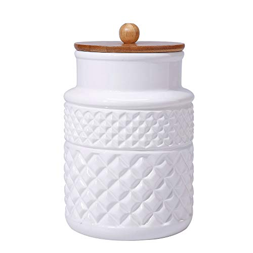 Ceramic Food Storage Jar with Airtight Seal Wooden Lid - Modern Design White Ceramic Kitchen Canister for Serving Tea Coffee Spice Sugar Salt and More