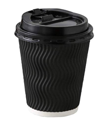 50 pack 16 oz Disposable Paper Coffee Cup with Lid - Black