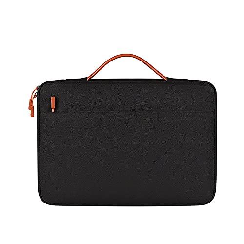 Lienzo Tela Impermeable Bolso de Hombro para computadora portátil maletín para Hombres y Mujeres maletín para computadora portátil maletín para computadora portátil con asa (Black,14.1-15.4/in)