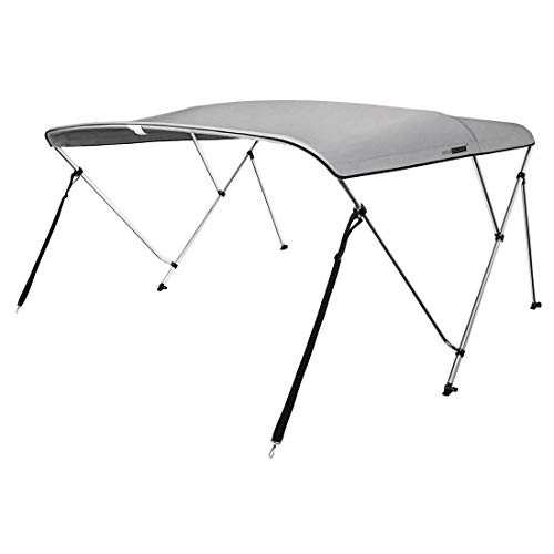 VIVOHOME 3 Bow Bimini Top Boat Cover Canopy Shade Waterproof with Rear Support Poles 2 Straps SS316 Stainless Steel Hardware 6 Feet L x 46 Inch H x 67-72 Inch W Gray