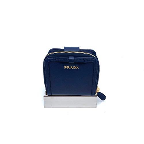Prada Portafoglio Lampo Navy Blue Vitello Move Zip Flap Bow Wallet 1ML522