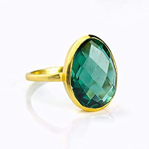 Teardrop Green Tourmaline Ring, Stackable, Dark Green Gemstone, October Birthstone