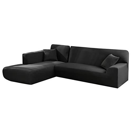 Copridivano con Penisola Elasticizzato Chaise Longue Sofa Cover Componibile in Poliestere a Forma di L è Composto da 2PCS (Nero, 3 Posti+3 Posti)