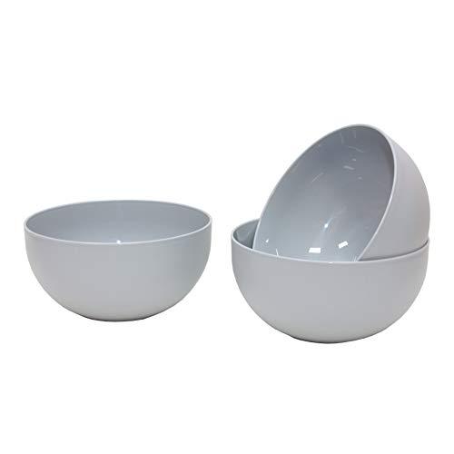Garden4You, ensaladera de plástico grande para fiestas, reutilizable en colores modernos, 20 cm, 2,5 l, juego de 3 (gris)