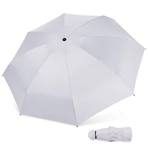 MARCELEN Mujer Mini Paraguas Pequeño del Sol Plegable para Mujeres Ultraligero Portátil Anti-UV Compacto Impermeable Ligero Viaje Paraguas Gris