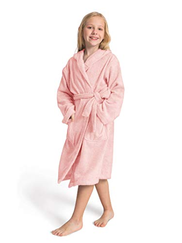 SIORO Robe for Kids Girls Hooded Terry Cotton Bathrobe Long Soft Sleepwear Winter Pajamas Light Pink 4-5T